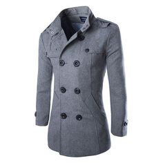 Men's Fashion-Style Double-Breasted Wool Winter Coat 2 Colors XS-XL
