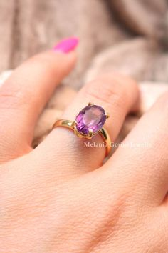 AMETHYST vermeil stackable ring with by MelaniaGoriniJewelry