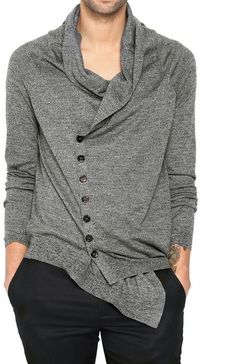 Alexander McQueen Gray Fine Wool Knit Asymmetric Sweater