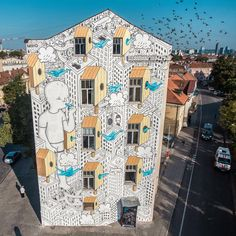 """Here is the entire wall I painted for Vilnius Street Art Festival, Lithuania! If you are in the area, the wall is located just opposite Hale market, one…""   millo, artist"