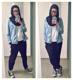Ootd hijab style : jogger pants, tshirt, denim shirt, converse. Casual day! #fien
