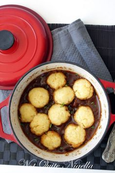 beef and beer stew with cheese dumplings. This is yummy. I've made it several time.