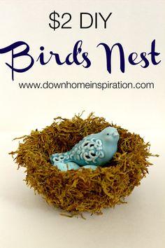 $2 DIY Bird's Nest - Down Home Inspiration