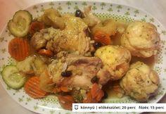 Indiai csirke gőzgombóccal és zöldségekkel