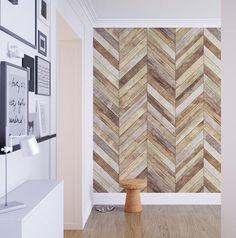 Chevron - Harringbone - Wood - Removable Wallpaper - Wood Wallpaper - Peel and Stick - Fabric Wallpaper - Wall Mural - Wallpaper - SKU:CHWO