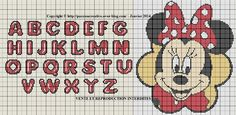 Cross Stitch Freebies, Cross Stitch Alphabet, Mickey And Friends, C2c, Le Point, Letters And Numbers, Hello Kitty, Crochet Patterns, Cartoon
