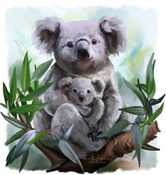 0ca745268 Mother and baby Koala Bear In The Tree Watercolor Style Art W Gallery Wrap  Ready To Hang Up To Size