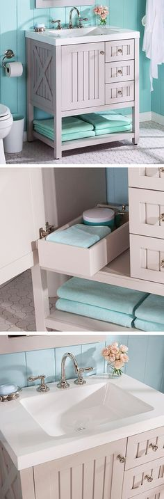 Here's a beautiful vanity choice for a cottage- or country-style bathroom. It's practical, too, with three full-extension side drawers, a spacious interior cabinet with a pullout drawer and an open bottom shelf.