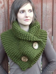 T K- chunky button cowl shawl neck warmer - cilantro - the anouk