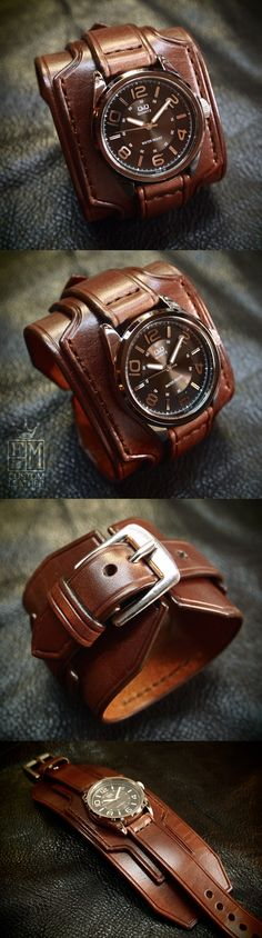 Other Mens Jewelry 177770: Leather Cuff Watch Brown Bracelet Nathan Drake By Freddie Matara Custom Nyc Usa -> BUY IT NOW ONLY: $299.99 on eBay!