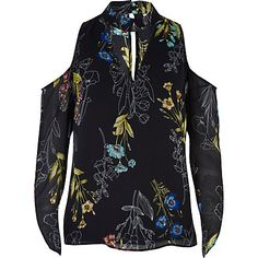Floral cold shoulder choker blouse £28.00