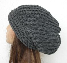 Slouchy Hat  Knit Hat  Womens hat  chunky knit Slouchy Beanie  oversized knitting Winter Accessories  Charcoal Gray  Fall Autumn   Fashion