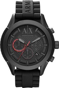 Best Bracelet 2017/ 2018 : Armani Exchange A|X Watch, Men's Chronograph Black Silicone Rubber Bracelet 47mm AX1212