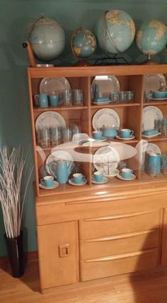 Heywood Wakefield Blue Heaven Vintage Dishes Mid Century Globes