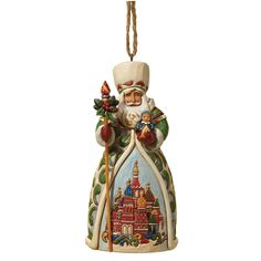 4022942 Russian Santa (Hanging Ornament)- A customary Russian Santa hanging ornament with staff and majestic scene. Part of Santa's Around The World Collection #Russian #festive #collectable