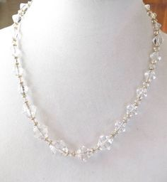 Vintage Simmons Gold Filled And Faceted Crystal Bead Necklace #Simmons #StrandString