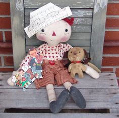 Raggedy Andy He Loves me he loves me Not by CindysHomespun on Etsy