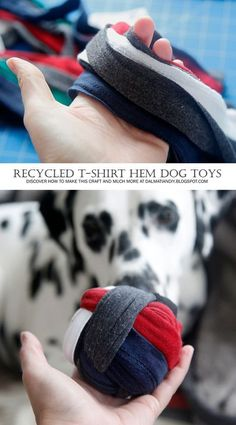 "Dogs DIY Dog Toys - Recycled T-Shirt Hem DIY Woven Dog Toys (Ball and Tug) - Finally! A good use for the scrap t-shirt hems! I salvaged ""the good bits"" for other t-shirt fabric uses, and set the hems aside for DIY dog toys. Homemade Dog Toys, Diy Dog Toys, Pet Toys, Puppy Obedience Training, Basic Dog Training, Training Dogs, Positive Dog Training, Easiest Dogs To Train, Recycled T Shirts"