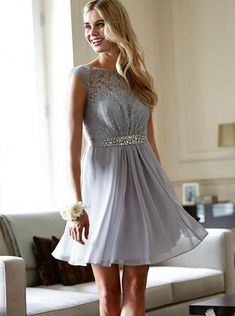 Silver Homecoming Dresses Short,Lace Chiffon Homecoming Dress inexpensive ,Short Homecoming Dress vintage - Wishingdress Winter Formal Dresses, Formal Dresses For Teens, Dresses Short, Beautiful Prom Dresses, Best Wedding Dresses, Cheap Homecoming Dresses, Simple Prom Dress, Silver Dress, Women's Fashion Dresses