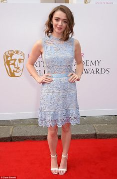 Lilac lovely: Maisie Williams stunned in a lilac crochet dress and white sandals as she walked the TV BAFTA red carpet in London on Sunday night