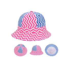 df685e0fd81 Blue Pink White Stripes Geo Bucket Hats Fishing Outdoor Sunbonnet Caps  Goldtop  Goldtop  Bucket