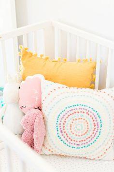 Bright and colorful baby nursery. Yellow And Pink Nursery, Girl Nursery Colors, Bright Nursery, Safari Theme Nursery, Baby Girl Nursery Themes, Nurseries Baby, Nursery Ideas, Neutral Nurseries, Disney Nursery