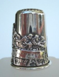 Rare Antique Sterling Silver Religious Last Supper Thimble