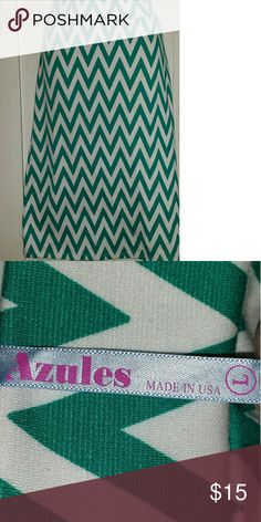 Skirt by Azules Long white skirt with teal chevrons Azules Skirts