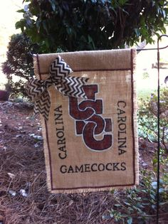 Interlocked USC Carolina Gamecock Hand Painted Burlap Garden Flag Chevron Bow on Etsy, $32.00