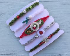 5 Tieback headbands setChristmas by DESERTROSECOUTURE on Etsy