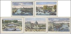 A Group of Five #French Colored Plate #Etchings Lot 147-2013 #landscape