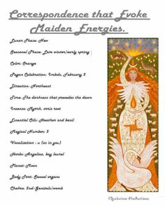 "Maiden Goddess Correspondence words from ""A Year and a Day"" book (My Production) This is too weird. I have a strong connection with the Maiden, and her celebration/Imbolc is on my birthday! Maiden Mother Crone, Triple Moon, Wicca Witchcraft, Triple Goddess, Practical Magic, Day Book, Book Of Shadows, Gods And Goddesses, T 4"
