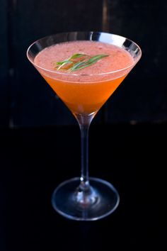 Pink Negroni: Gin, Campari, Lemon Juice, Lillet Blanc, Bittermens Burlesque Bitters, Tarragon.