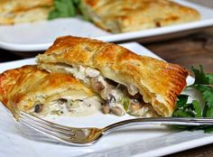 Sharing a recipe for Turkey, Mushroom and Bacon Puff Pastry Pockets. How-to photographs included. Pepperidge Farm Puff Pastry, Bacon Stuffed Mushrooms, Bacon Mushroom, Creamy Mushrooms, Mushroom Sauce, Turkey Stuffing, Turkey Bacon, Leftovers Recipes, Turkey Leftovers