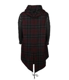 CHECK GABOURY PARKA BACK outer body 20% italian virgin wool 20% polyamide, sleeve 100% leather, body lining 100% cotton, sleeve lining 100% polyester All Saints Spitalfields Fall 12