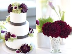 burgundy wine colored flowers decorate the cake and centerpieces at this Carneros Inn Wedding