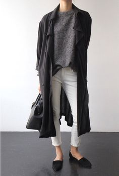 charcoal trench, gray sweats, white pants, pointed-toe and black bag