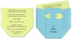 Diaper Baby Shower Invitations for Baby Boy - Set of 10