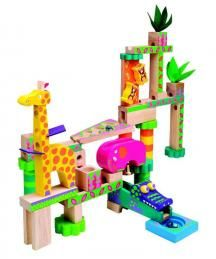Construct a fun wooden jungle with Jungle Marble Maze Kids Marble Run by Alex. Manufactured by Alex Toys. Recommended for 3 years, 4 years, 5 years. Wooden Marble Run, Marble Maze, Marble Falls, Rainbow Theme, Rainbow Colors, Rainbow Toys, 3d Maze, Mazes For Kids, Alex Toys