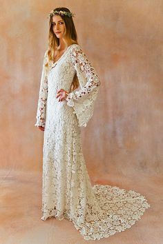 BOHO WEDDING DRESS. Bell Sleeve Simple by Dreamersandlovers
