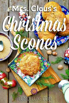 Rich with chestnut puree and fragrant with nutmeg, these delicious Christmas scones are a sparkling addition to any table with their glistening sugar crust. #sconesrecipe #christmasrecipes #christmasbrunch #christmastea