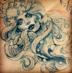 21 Ideas Tattoo Mermaid Art Beautiful For 2019 Mermaid tattoo – Top Fashion Tattoos Hai Tattoos, Kunst Tattoos, Tatuajes Tattoos, Neue Tattoos, Body Art Tattoos, Tattos, Tatoo Art, Diy Tattoo, Tattoo Fonts