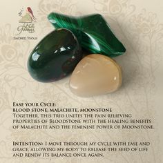 This Ease Your Cycle gemstone trio relieves menstrual cramps and helps you embrace your emotions. Bloodstone improves circulation, Malachite helps with feminine healing, and Moonstone is for divination.