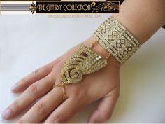 Oppulent Gatsby Art Deco Style Rhinestone Bracelet 1920s Dress Clip Slave Bracelet Daisy Wedding Gold Tone on Etsy, $185.00