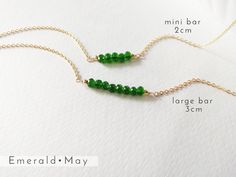 May Birthstone Necklace- Emerald Necklace- Mothers Day Gift Jewelry-Delicate Beaded Necklace-Gift for Gold Filled or Sterling Silver Pearl Necklace Wedding, Emerald Necklace, Emerald Jewelry, Birthstone Necklace, Gems Jewelry, Bar Necklace, Jewelry Gifts, Beaded Necklace, Gold Filled Chain
