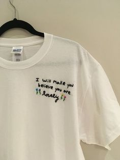 Twenty One Pilots- Lovely I Will Make You Believe You Are Lovely Embroidered T-Shirt Cotton Unisex T-Shirt All items are embroidered by me, and each shirt will have slight differences Each T-Shirt is made to order Ready to ship to you in 5 to 7 days Twenty One Pilots Lovely, T-shirt Broderie, Shirt Embroidery, Embroidery Ideas, Embroidered Clothes, Diy Fashion, Fashion Women, Fashion 2018, Fashion Trends