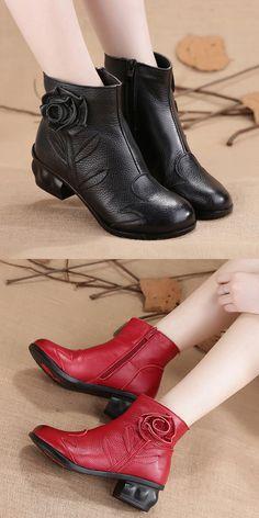 US$34.35 SOCOFY Handmade Flower Original Mid Heel Vintage Boots
