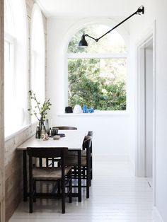 dining nook with white floors