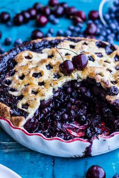 Vanilla Bourbon Cherry-Blueberry Pie