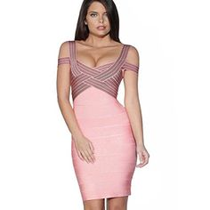 iFashion Women's Rayon Cold Shoulder Bandage Bodycon Strappy Party Dress